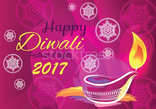 Happy Diwali Festival of Lights 2017 Banner Vector Stock photo © robuart