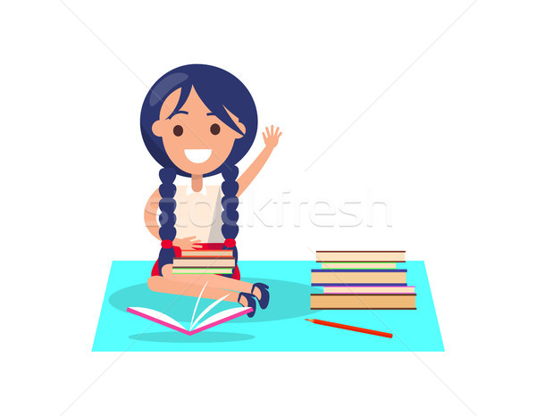 Girl with Piles of Books Isolated Illustration Stock photo © robuart