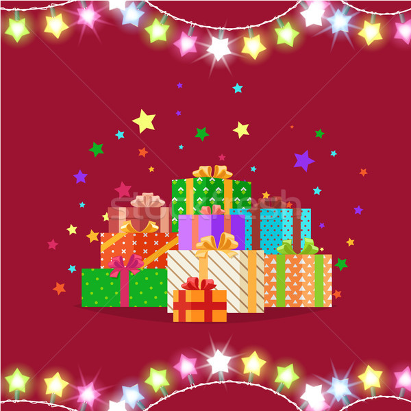 Crismas Presents in Festive Boxes Vector Illustration Stock photo © robuart