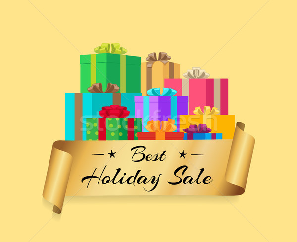 Best Holiday Sale Poster with Gold Ribbon Gift Box Stock photo © robuart