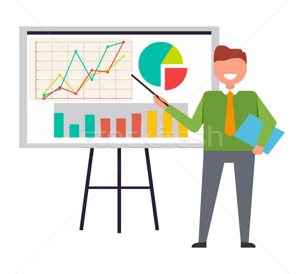 Businessman Standing at Interactive Whiteboard Stock photo © robuart