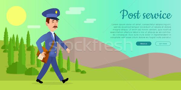 Postar serviço vetor teia bandeira carteiro Foto stock © robuart