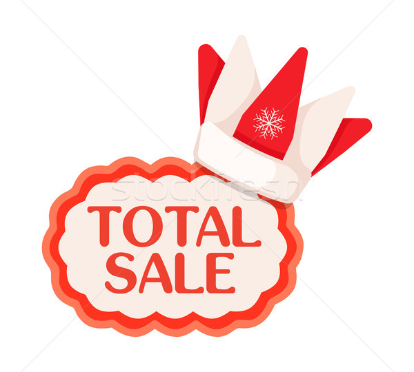 Total Sale Tag with Crown in Santa Claus Style Stock photo © robuart
