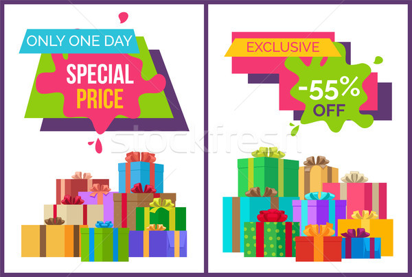 Only One Day Special Price Exclusive Sale Posters Stock photo © robuart