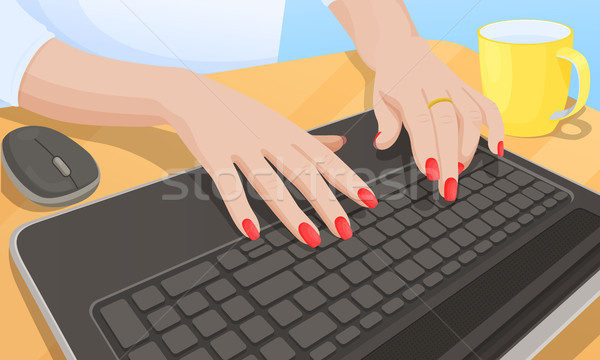 Woman Typing on Keyboard, Vector Illustration Stock photo © robuart