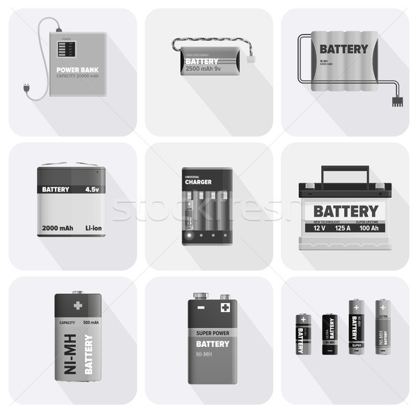 Black and White Charging Devices Illustrations Set Stock photo © robuart