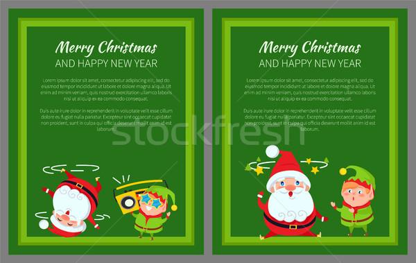 ストックフォト: 陽気な · クリスマス · ポスター · サンタクロース · エルフ