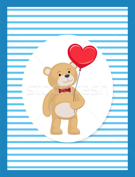 Soft Teddy with heart shaped balloon in Paw Vector Stock photo © robuart