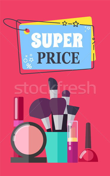 Super Price for Makeup Brushes and Cosmetics Promo Stock photo © robuart