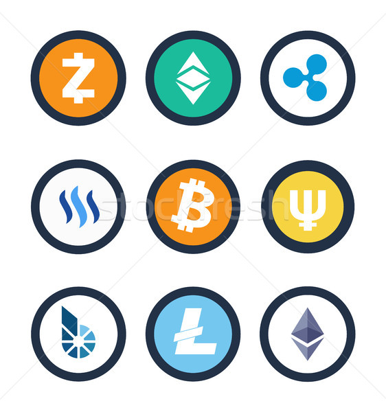 Stock photo: Cryptocurrency Different Coins Vector Illustration