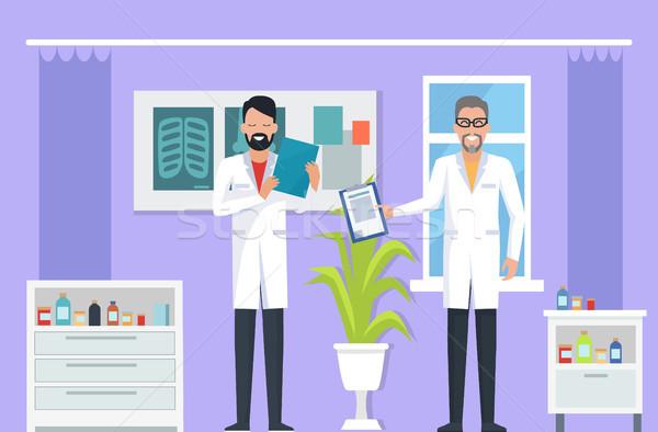 Doctors at Room on Vector Illustration Purple Stock photo © robuart