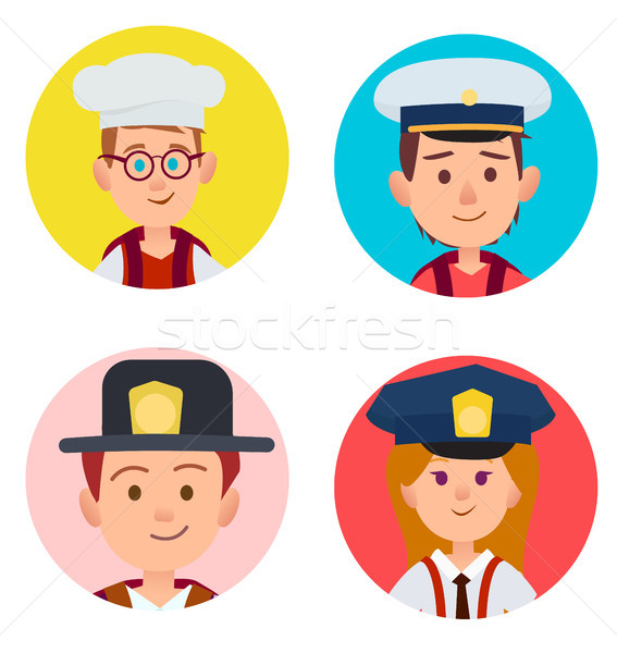 Children Portraits of Adult Occupations Four Icons Stock photo © robuart
