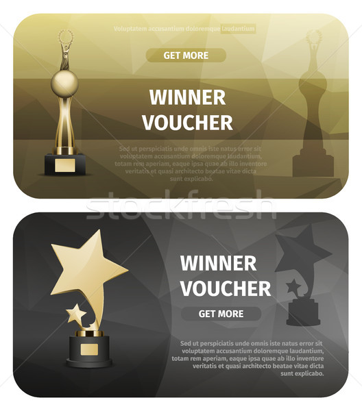 Winner Vouchers with Gold Stars and Laurel Wreath Stock photo © robuart