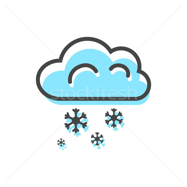 Cloud Snowflakes Christmas Vector Illustration Stock photo © robuart