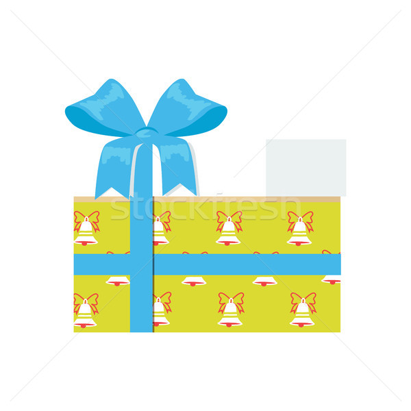Gift Box with Decorative Bell on Wrapping Paper Stock photo © robuart