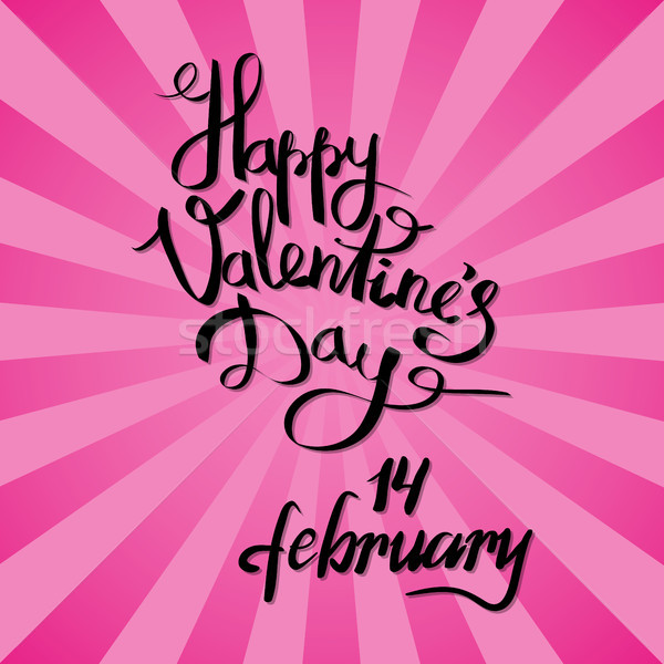 Happy Valentines Day 14 February Poster on Pink Stock photo © robuart