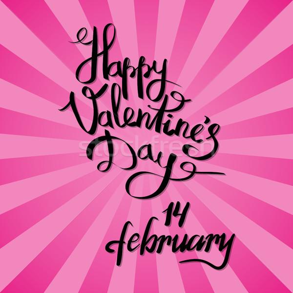 Gelukkig valentijnsdag 14 poster roze stralen Stockfoto © robuart