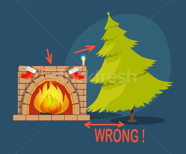 Errado árvore de natal lareira cartaz meias distância Foto stock © robuart