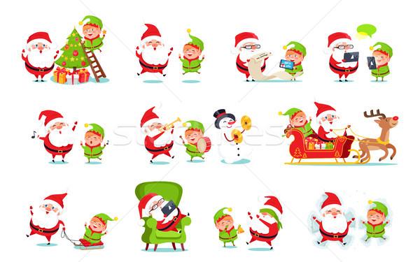 Kerstman activiteiten ingesteld collectie winter karakter Stockfoto © robuart