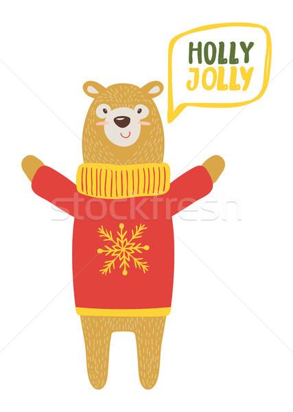 Holly Jolly Congratulation Vector Illustration Stock photo © robuart