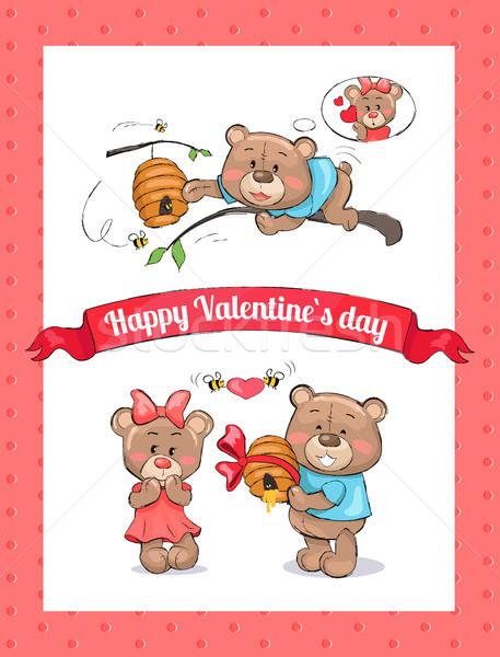 Mutlu sevgililer günü poster erkek ayı kovan Stok fotoğraf © robuart