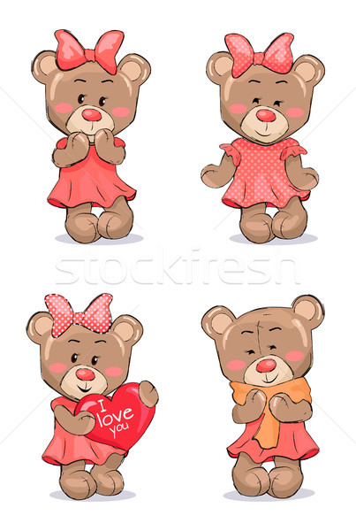 Photo stock: Cute · Homme · ours · rose · robe · arc