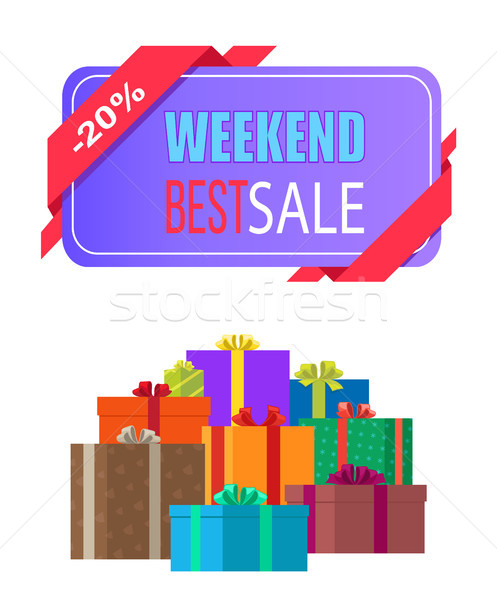 Weekend Best Sale Label 20 Off Discount Poster Stock photo © robuart