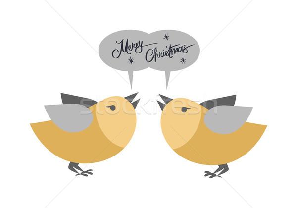 Vidám karácsony pár madarak énekel üdvözlet Stock fotó © robuart