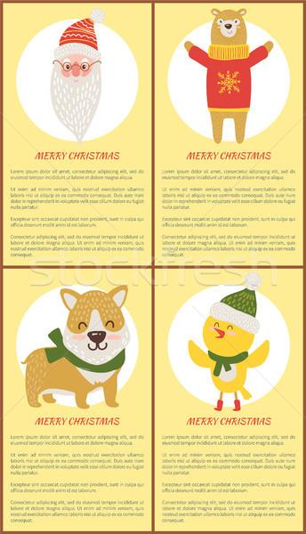 Merry Christmas Banners Vector ISanta, Bear, Dog Stock photo © robuart