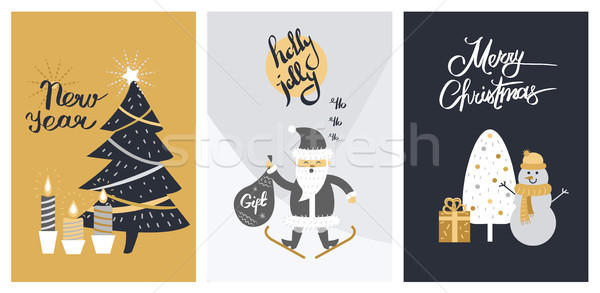 Holly Jolly Merry Christmas New Year Bright Banner Stock photo © robuart