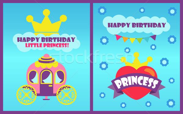 Happy Birthday Little Princess Vector Illustration Stock photo © robuart
