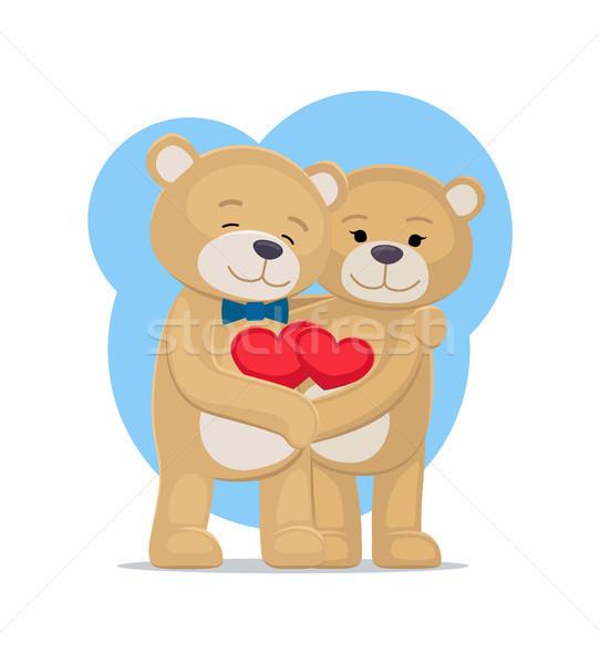 Medvék szerelmespár tart szívek kezek férfi Stock fotó © robuart