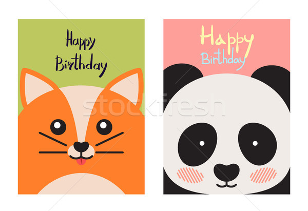 Happy Birthday Card Collection Vector Illustration Stock photo © robuart