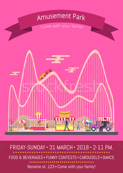 Amusement Park Pink Poster Vector Illustration Stock photo © robuart