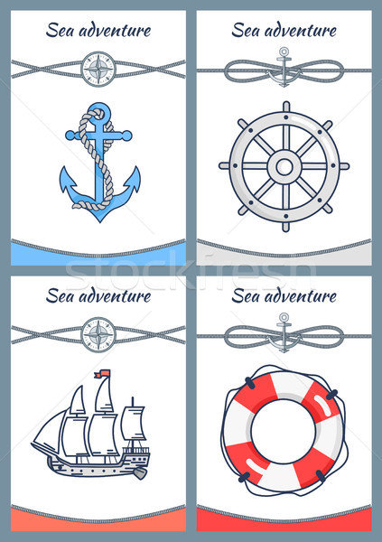 Sea Adventure Set of Four Bright Colorful Banners Stock photo © robuart