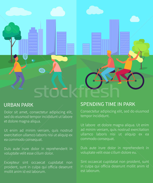 Spending Time in Urban Park Posters with Text Stock photo © robuart