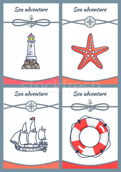 Sea Adventure Placards Set Vector Illustration Stock photo © robuart