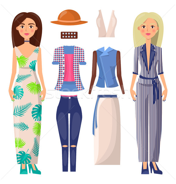 Women and Clothing Set Vector Banner Illustration Stock photo © robuart