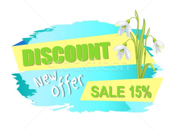 Korting nieuwe bieden verkoop 15 advertentie Stockfoto © robuart
