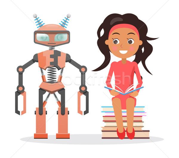 Meisje jurk zitten boeken naast Stockfoto © robuart