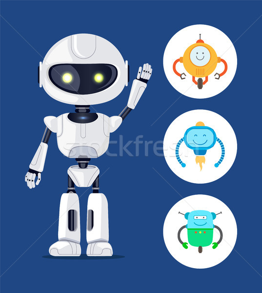 White Cyborg With Raising Hand, Vector Poster Stock photo © robuart