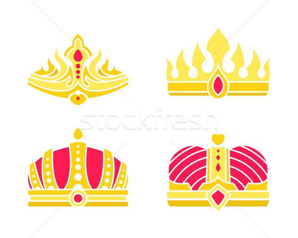 Golden Heraldic Crowns Inlaid with Gems Vector Stock photo © robuart