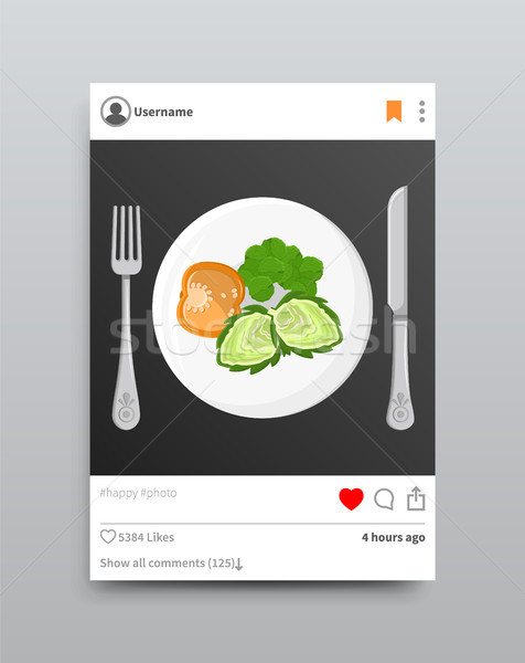 Dish Posted on Instagram, Vector Illustration Stock photo © robuart