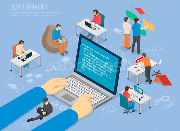 Programming Development Poster with Code in Laptop Stock photo © robuart