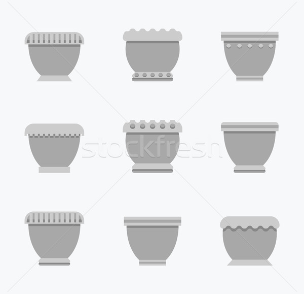 Flower Pots Curved Collection Vector Illustration Stock photo © robuart