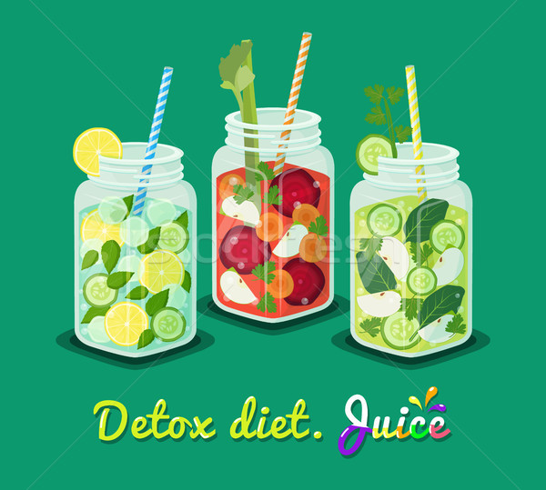 Detox Diet Poster Mug Set Vector Illustration Stock photo © robuart