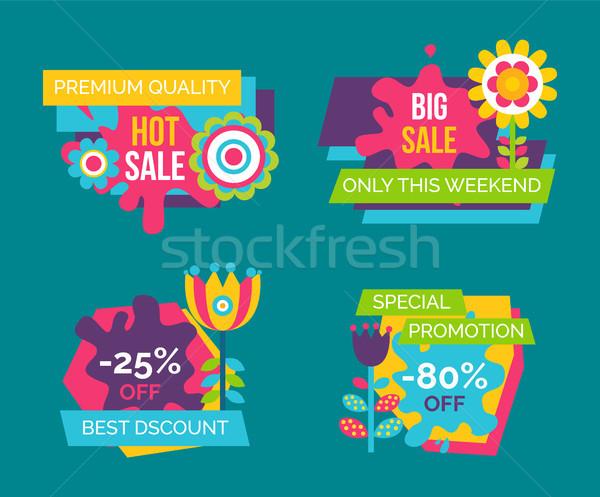 Forró vásár prémium minőség promo címkék Stock fotó © robuart