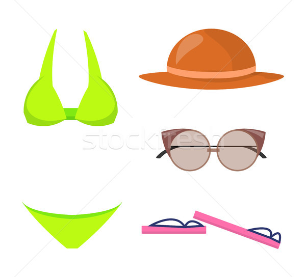 Swimming Suit and Items Set Vector Illustration Stock photo © robuart