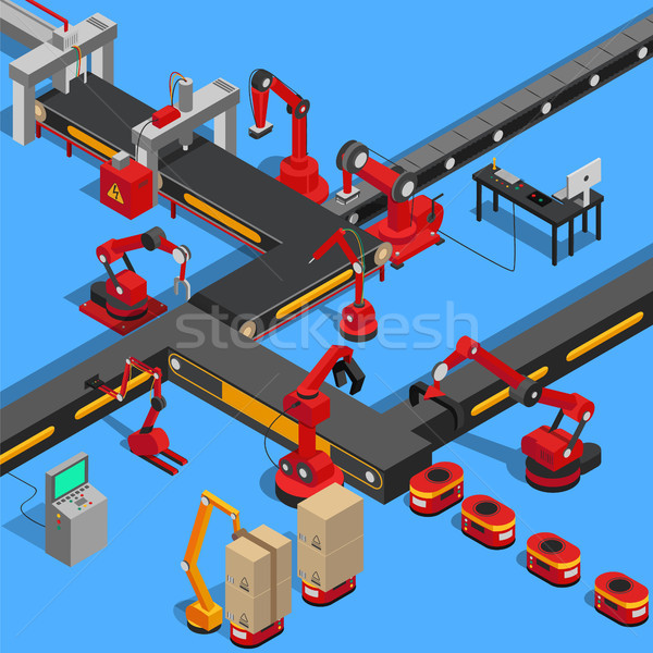 Production Equipments Set Vector Illustration Stock photo © robuart