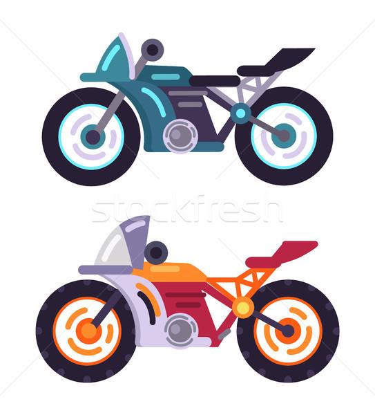 Mopedek modern modellek szett motorbicikli jármű Stock fotó © robuart